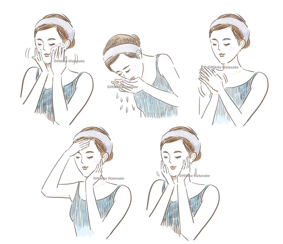 スキンケアをする女性のイラスト