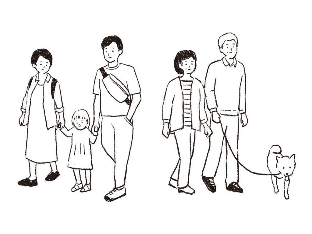 吉祥寺を歩く家族