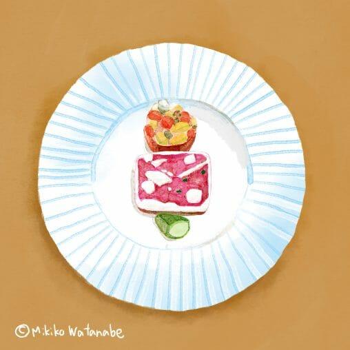 フランス料理 前菜のイラスト
