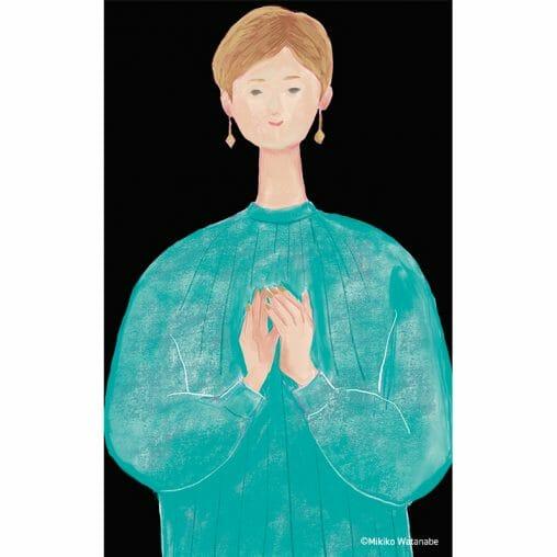 拍手する女性のイラスト